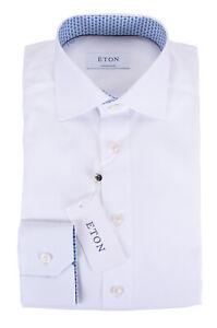 NWT ETON DRESS SHIRT white poplin luxury Sweden 37 14 1/2 contemporary