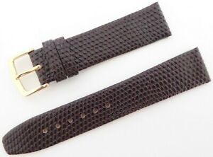 Traditional Lizard Grain Premium Quality Brown Leather Strap with Gold Buckle