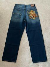 ECKO Unltd. Embroidered Hip Hop Baggy Fit Blue Denim Jeans Men's Size 34 x 31