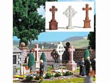 Busch 1096 3 Steinkreuze für den Friedhof Gedenkstätte Fertigmodell H0 Neu