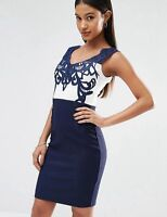 Womens Sexy Navy White Midi Dress Knee Length Cocktail Evening Formal 8 10 12