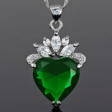 Fashion Jewelry Heart Cut Green Emerald Silver Tone Pendant Necklace~ For Dress