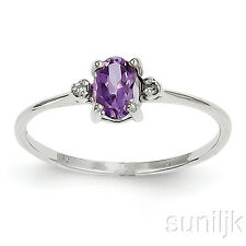 White Gold Amethyst and Diamond Ring 14K