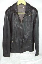 SUPER BEAUTIFUL !!! MIKE & CHRIS MEN LEATHER HOODED FITTED BIKER JACKET SIZE  M