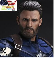 1/6 Captain America Head w/ Beard Chris Evan for Hot toys Phicen ❶US IN STOCK❶