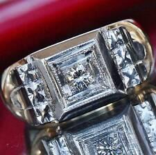 1950's Heavy handmade 14k multi tone 0.25ct natural diamond size 5.5 ring 8.6g