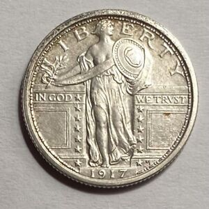 1917 TYPE 1 STANDING LIBERTY QUARTER UNCIRCULATED LIGHTLY CLEANED — NO RESERVE!!
