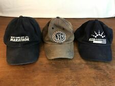 Men's Lot of (3) Collectible Distressed NYC Marathon Adjustable Caps Hats (CH8)