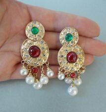 Rosso Verde E Perla Barocca Stile Vintage Dichiarazione Orecchini-UK Venditore