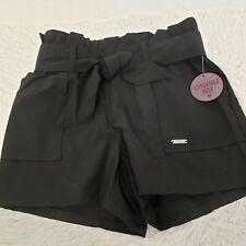 Justice Girls Sz 8 Black Paper Bag Waist Shorts W/Removable Belt NEW