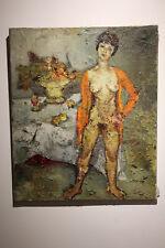 Françoise Adnet - Huile sur toile signée - Nu au panier de fruits