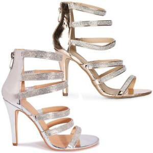 WOMENS WEDDING SHOES NEW LADIES HIGH HEELS BRIDAL EVENING PARTY STRAPPY SANDALS