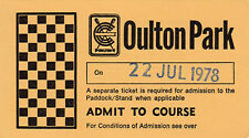Oulton Park Paddock Entry Ticket  22 July 1978