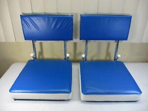 Set of 2 Folding Padded Bleacher Boat Seat Pad w/ Back Rest KR Industries   (a)