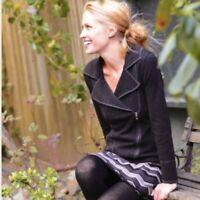 Krimson Klover Rambling Rose Moto Asymmetric Merino Wool Jacket Charcoal Size S