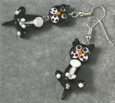 Lampwork Glass Kitty Cat Earrings Black White Silver Hypoallergenic Wiggly fun!