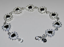 925 Sterling Silver Bracelet. Linked Hearts Design with Black Centres. 7.5 inch