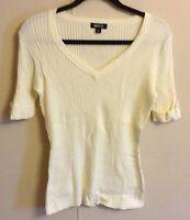 Women's Metrostyle Ivory Short Sleeve Ribbed Knit Sweater Size L