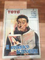 LOCANDINA ORIGINALE DEL FILM DI TOTO' IL MONACO DI MONZA MISURE 83X60
