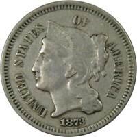 1873 Open 3 3c Nickel Three Cent Piece Coin VF Very Fine