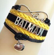 Infinity Love Bat Man With Heart Super Man Leather Braided Friendship Bracelet