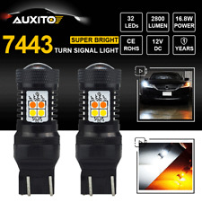 2X 7443 LED Switchback White Amber Turn Signal Light 7444NA W21W T20 Bulbs Lamp