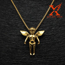 "Stainless Steel 14K Gold Pated Hip Hop Angel baby Mini Charm Pendants 24"" Chain"