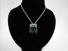 Emerald Green Silver Square Crystal Elvish Medieval Victorian Pendant Necklace