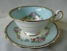 Vintage Eb Foley Bone China Cabbage Roses Gold Trim Cup & Saucer