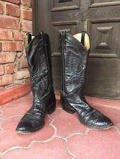 Classic Vintage Larry Mahan Black Lizard Skin Leather Cowboy Boots Men's 10.5D