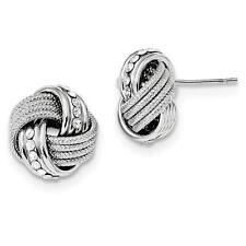 Platinum Sterling Silver Love Knot Cable Design Crystal Post Stud Earrings
