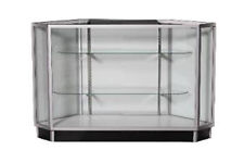 CORNER GLASS Showcase Display Cabinet Counter Shelving KDCU