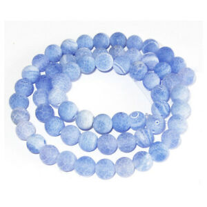 Blue Cracked Agate Beads Plain Round 6/8/10mm Frosted Strand Of 15''