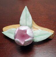 Vintage PIA Fine Bone China Pink Floral Place Holder Fine Porcelain Hand Painted