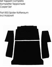 Kompl. Kofferraum Teppich Satz Fiat 850 Spider Velour Schwarz