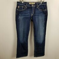 Big Star Rikki Low Rise Capri Cropped Distress Womens Dark Wash Blue Jeans Sz 30