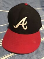 Atlanta Braves Cap Hat 59fifty New Era Fitted Size 7 1/4 Baseball Blue Red