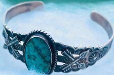 Old Pawn Cuff Bracelet Silver Turquoise Gemstone Crosses Arrows Jane Popovich