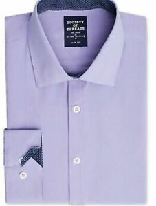 Society of Threads Mens Dress Shirt Slim Fit Button Lilac Size 18-18.5  35-36