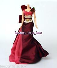 Intricate Burgundy Coral Gown Silkstone Fashion for Barbie Doll