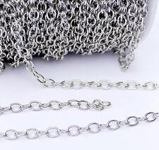 Gliederkette Ankerkette Oval Metall silber 5,5 x 7,5 x1,2 mm 1 Meter (1,00€/m)
