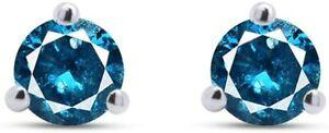 IGI CERTIFIED Round Blue Natural Diamond 3 Prong Martini Stud Earrings 10k Gold