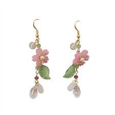 NEW~Betsey Johnson Rhinestone  Lily Dangle Flower earrings & free Gift
