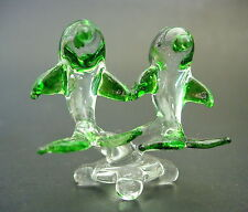 Glass DOLPHIN Ornament, 2 Clear Glass & Green Painted Dolphins, Animal Figurine