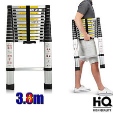 3.8m (12ft5) Foldable Telescopic Style Climb Ladder For Indoor Outdoor Use Safe