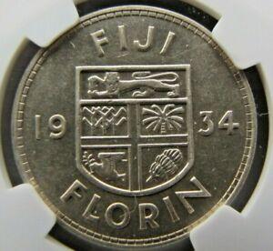 Fiji Islands Florin 1934 NGC AU 58.  Very pleasing lustrous coin.