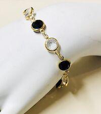 Swarovski Signed Crystal Bracelet Bezel Set Black And Clear