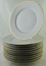 ANTIQUE LIMOGES DINNER PLATE SET 11 CLASSIC WHITE GOLD RIM FRANCE PROVINCIAL