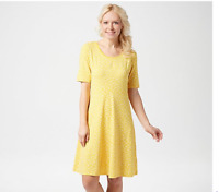 Isaac Mizrahi Live! Knit Scatter Dot Swing Dress Lemon Peel, Medium A352282