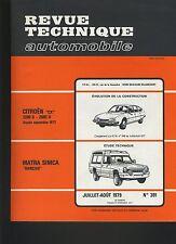 (30A) REVUE TECHNIQUE AUTOMOBILE MATRA SIMCA RANCHO / CITROEN CX